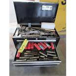 TOOLBOX, CRAFTSMAN, 3-drawer, w/Jacobs chuck, collet set, endmill cutter, inserts, etc. (Location 1: