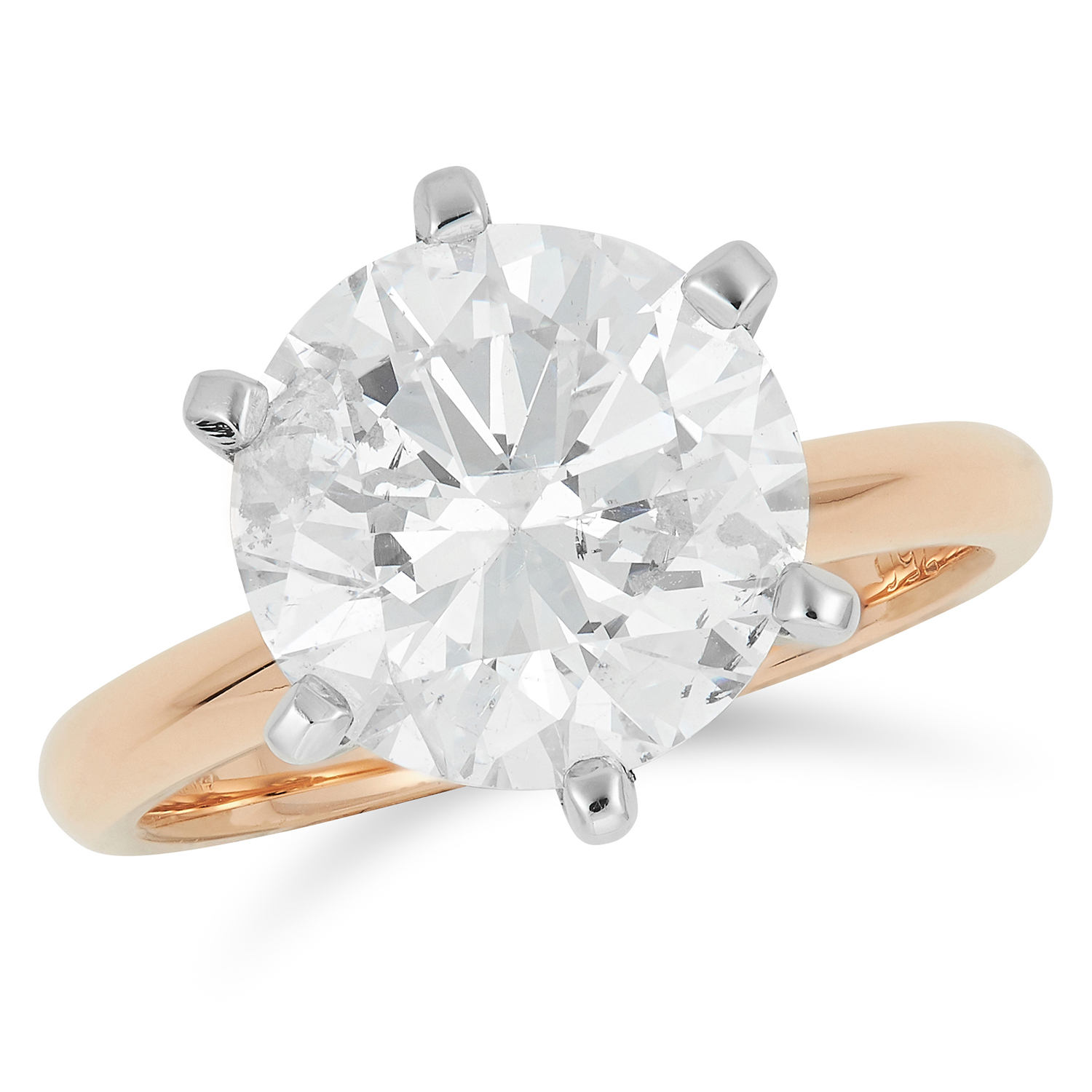 Los 4A - 4.23 CARAT SOLITAIRE DIAMOND RING set with a round cut diamond of approximately 4.23 carats, size M