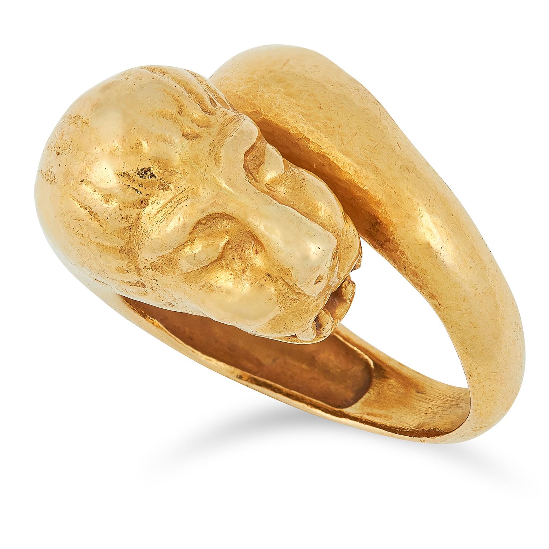 A LION RING, ZOLOTAS designed as a coiling lion, signed Zolotas, size I / 4.5, 9.6g.