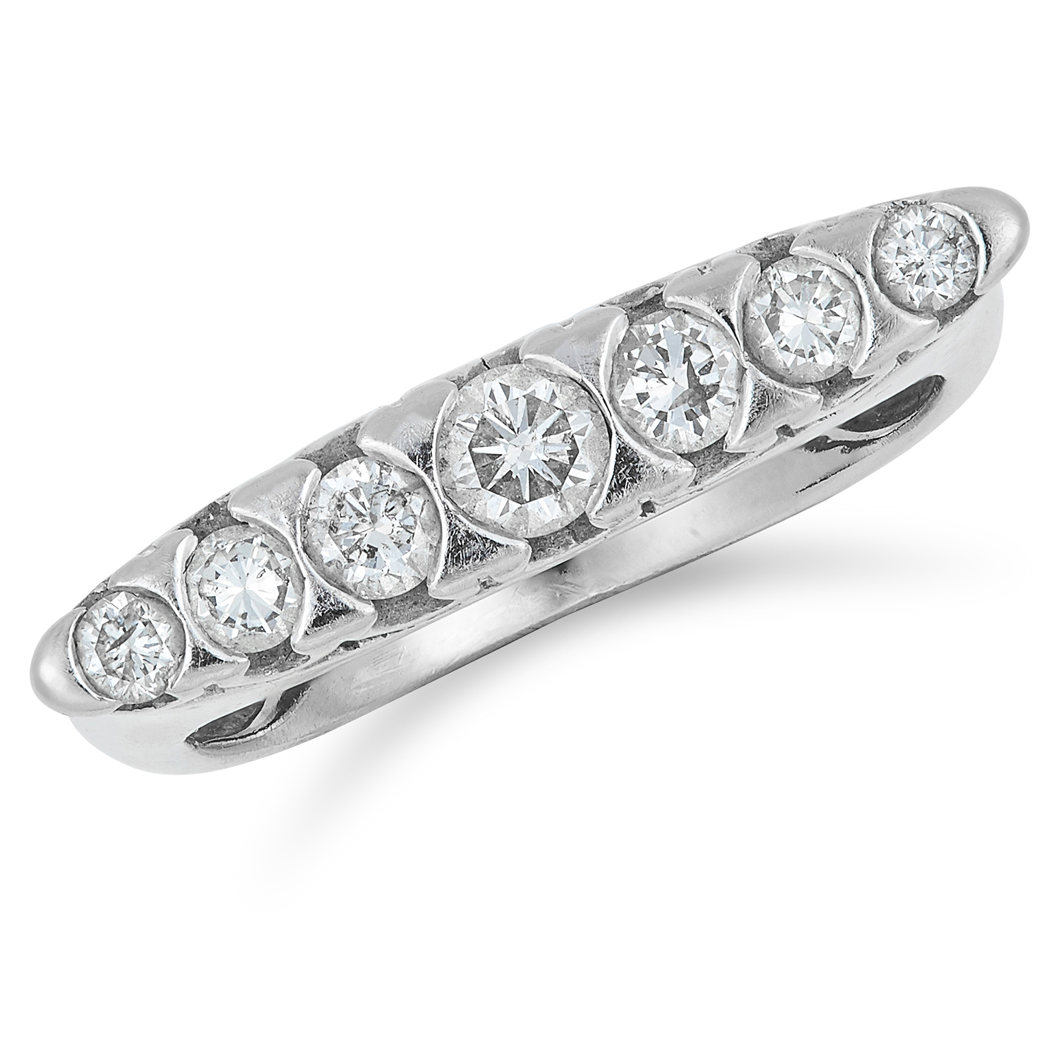DIAMOND SEVEN STONE RING set with round cut diamonds totalling approximately 0.34 carats, size M /