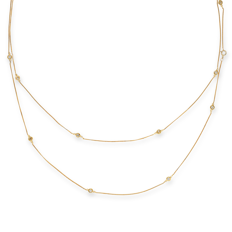Los 30 - DIAMOND CHAIN SAUTOIR NECKLACE set with round cut diamonds, 100cm, 5.1g.