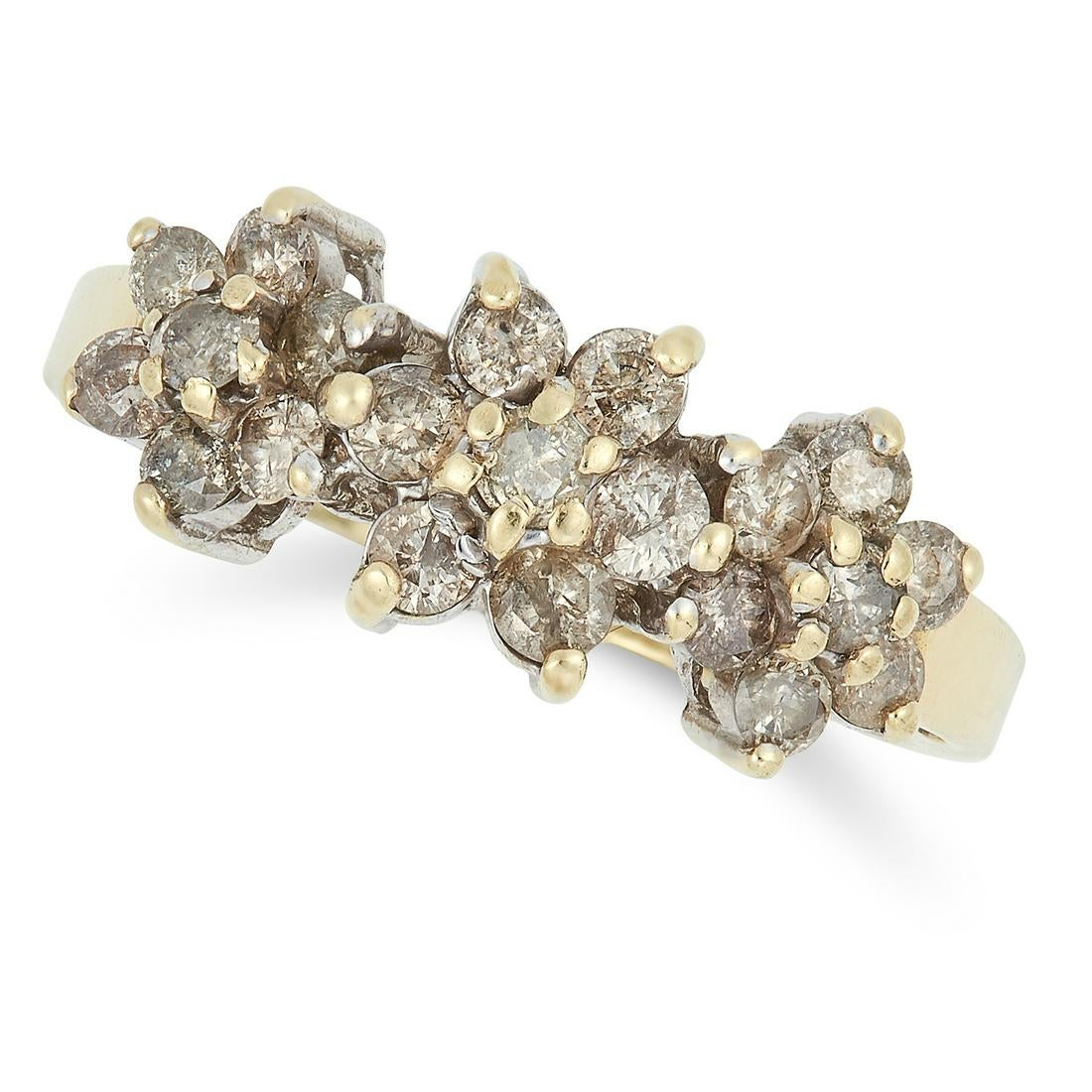 Los 51 - DIAMOND CLUSTER RING set with three clusters of round cut diamonds, size N / 6.5, 3.2g.