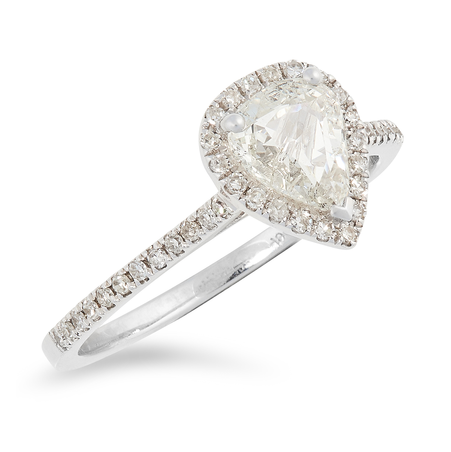 A DIAMOND SOLITAIRE RING, TRESOR PARIS set with a pear fancy cut diamond of 0.67 carats in a halo of - Image 3 of 3
