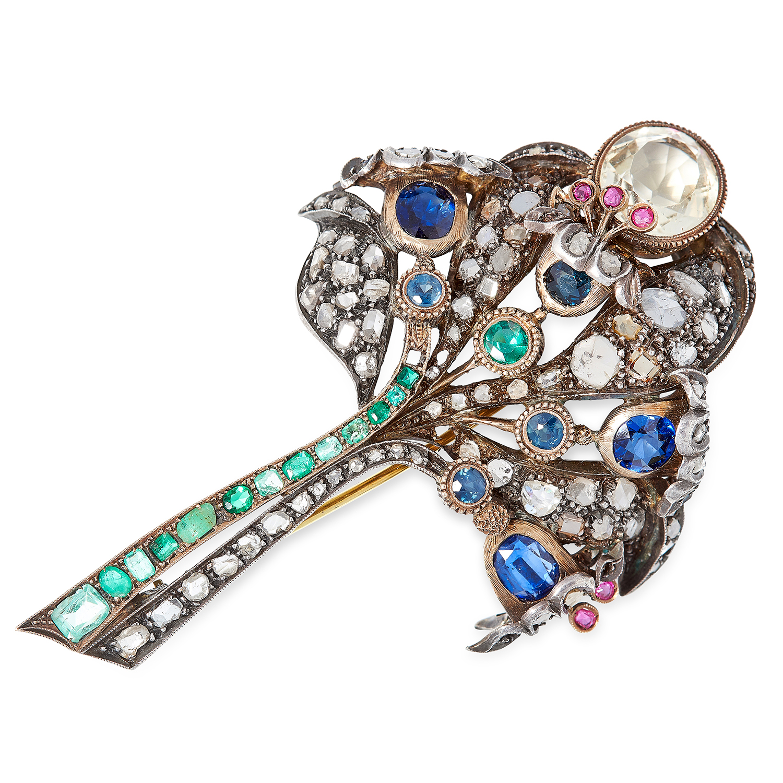 Los 61 - ANTIQUE GEMSET FLOWER SPRAY BROOCH set with sapphires, emeralds, diamond, rubies and citrine, 7.7cm,