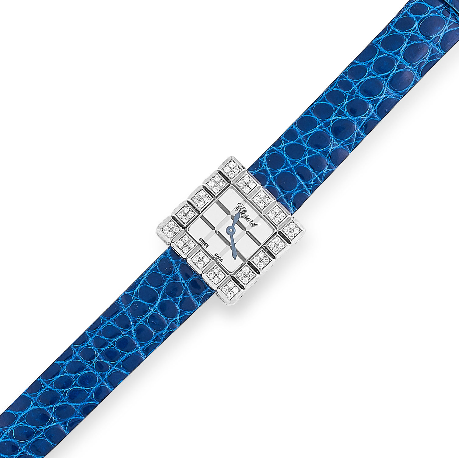 LADIES DIAMOND ICE CUBE WATCH, CHOPARD the bezel set with round cut diamonds and on a blue leather - Image 2 of 2