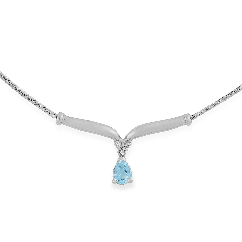Los 13 - AQUAMARINE AND DIAMOND PENDANT set with a pear cut aquamarine below round cut diamonds, 44cm, 4.2g.