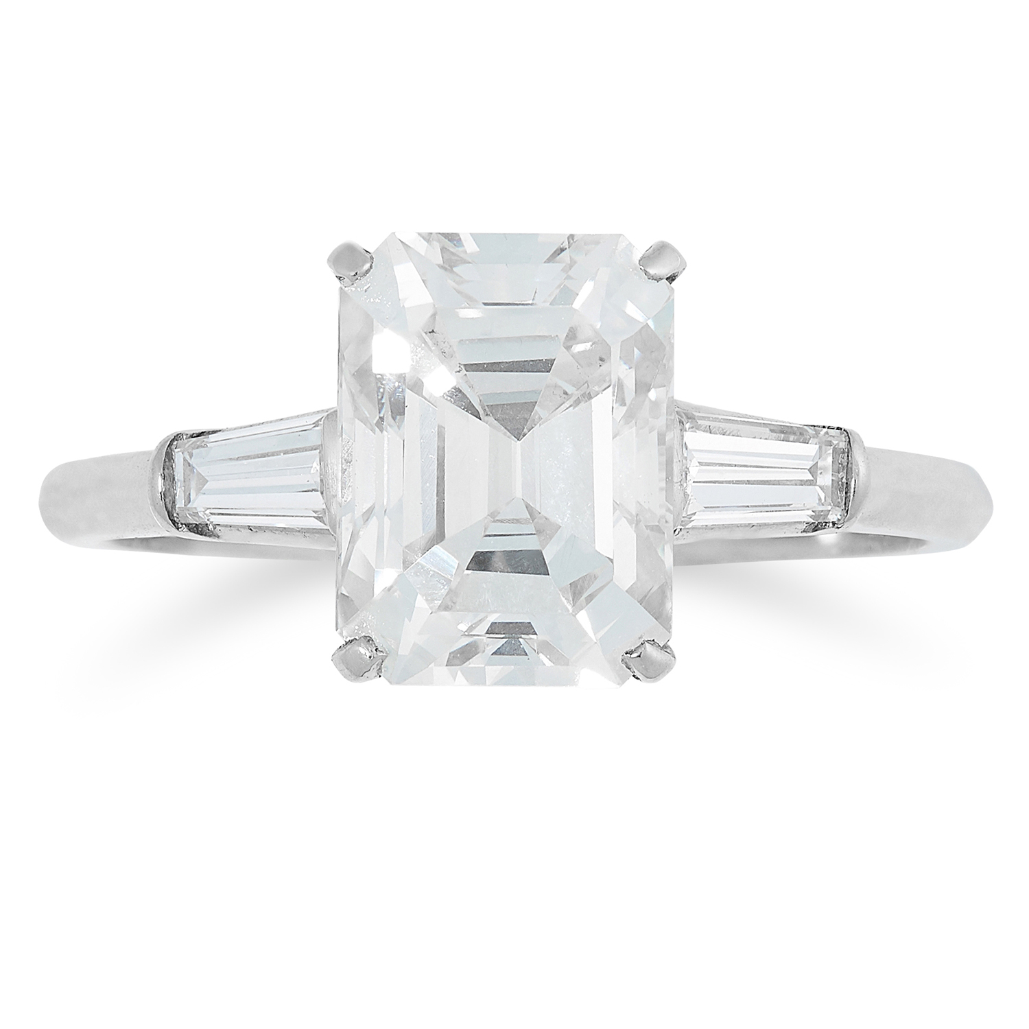 2.48 CARAT DIAMOND RING set with an emerald cut diamond of 2.48 carats between two tapered baguette
