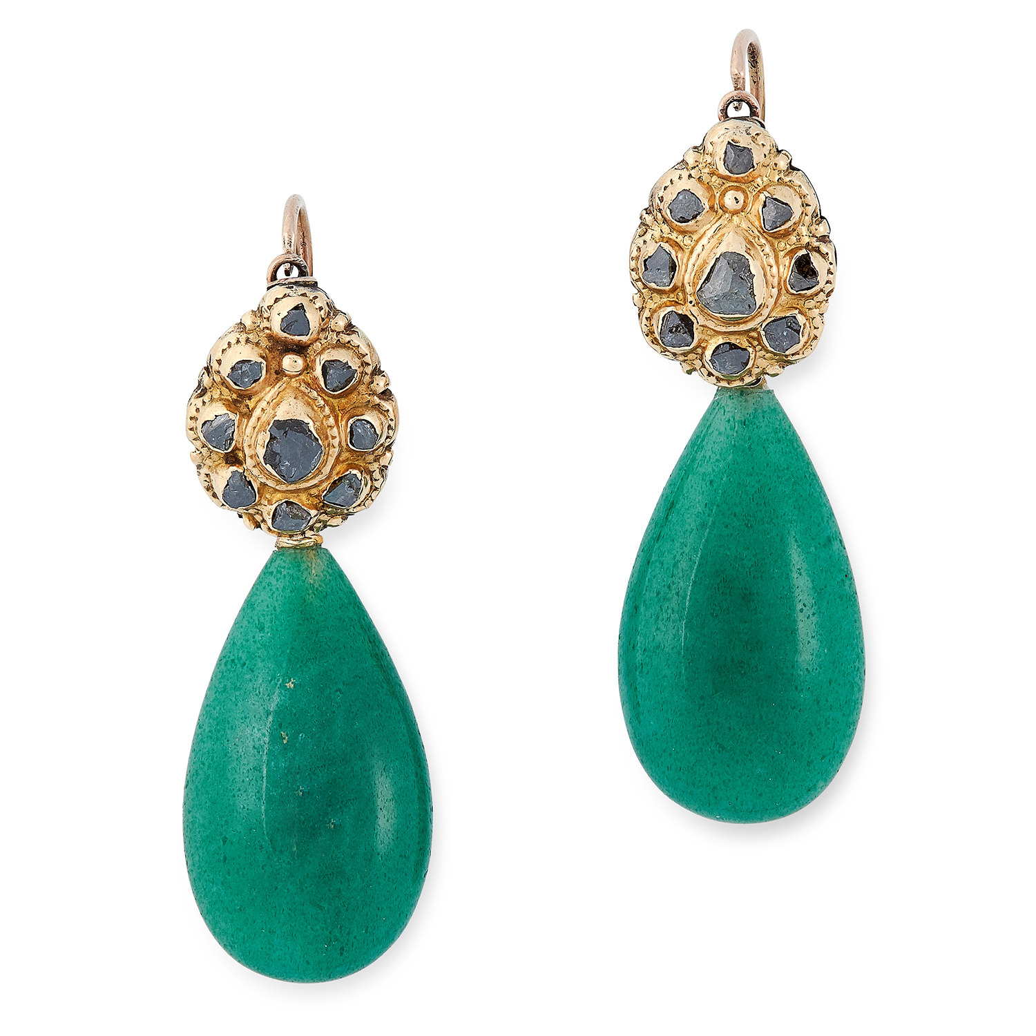 Los 40 - DIAMOND AND AVENTURINE EARRINGS each set with rose cut diamonds and suspending a polished aventurine