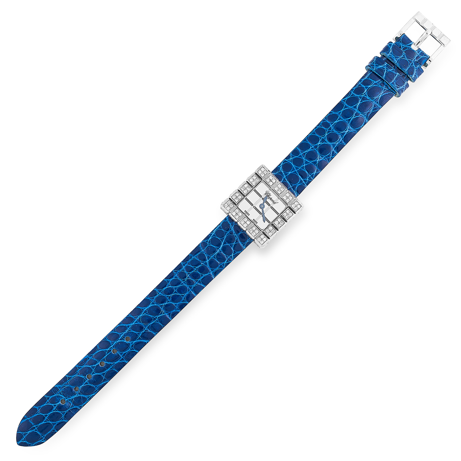 LADIES DIAMOND ICE CUBE WATCH, CHOPARD the bezel set with round cut diamonds and on a blue leather