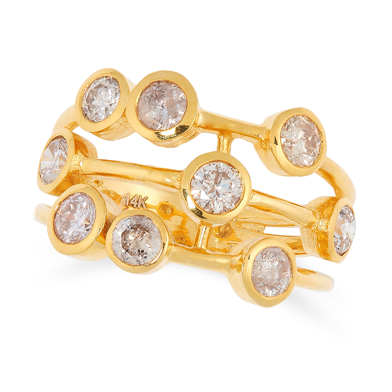 Los 19 - A DIAMOND DRESS RING in the manner of Boodle's raindance design, the open framework set with round