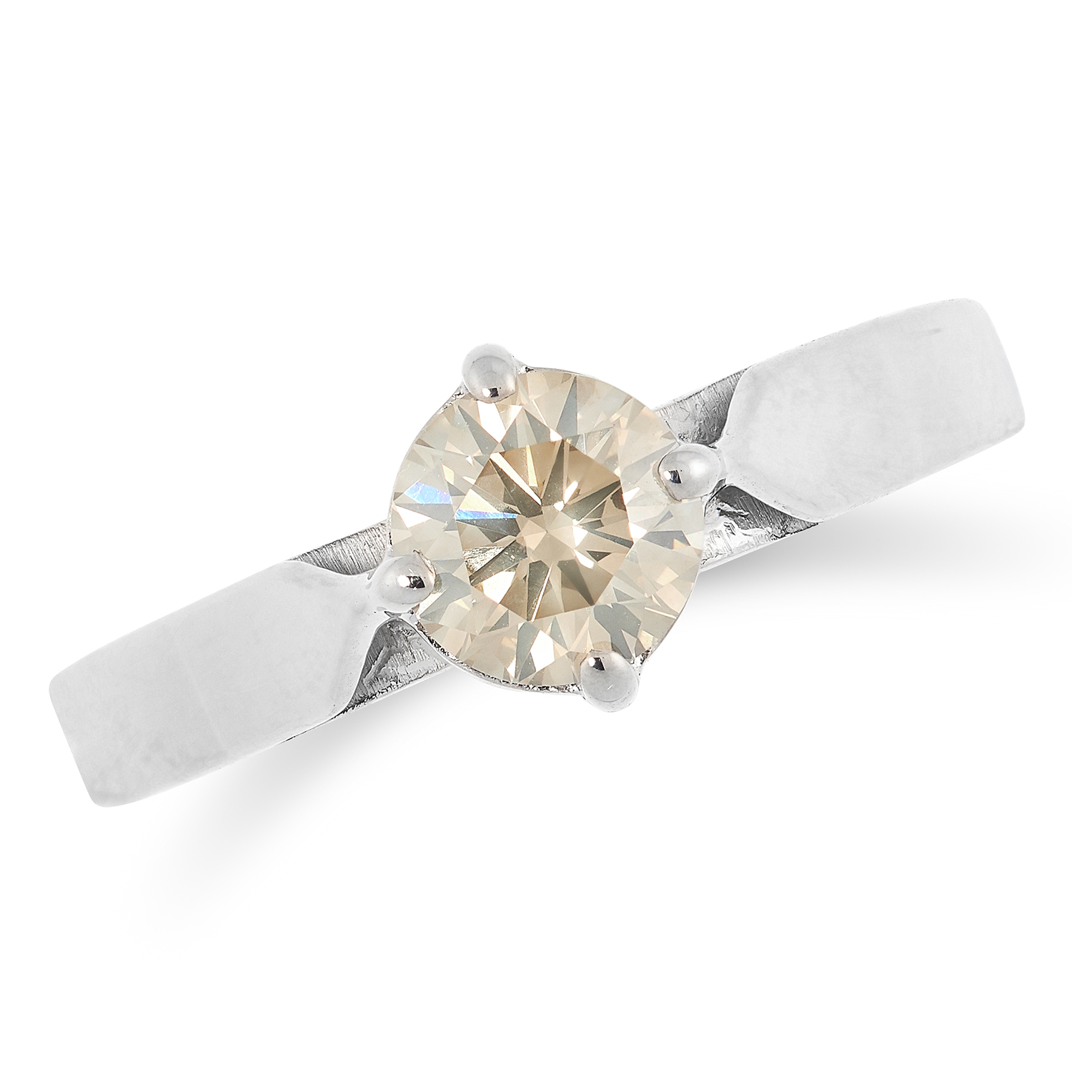 DIAMOND SOLITAIRE RING set with a round cut diamond of approximately 1.00 carat, size R / 8, 4.2g.