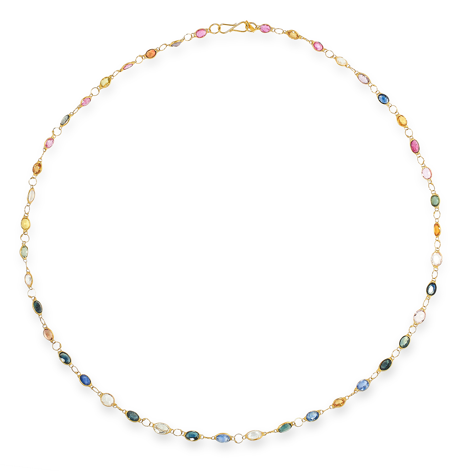MULTICOLOURED SAPPHIRE NECKLACE set with oval cut white, pink, blue and green sapphires, 47cm, 4.