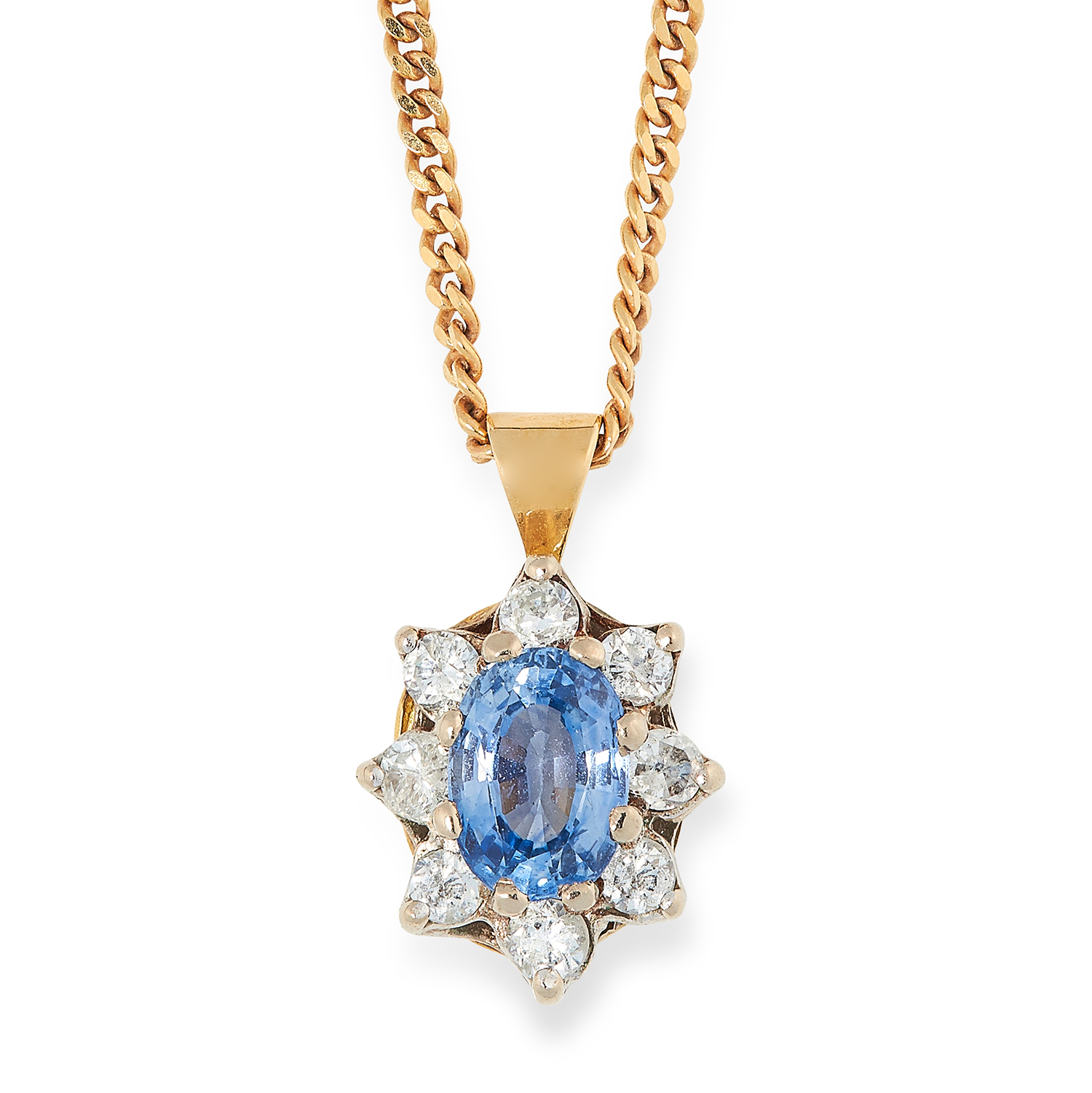 SAPPHIRE AND DIAMOND CLUSTER PENDANT set with an oval cut sapphire and round cut diamonds, 1cm, 4.