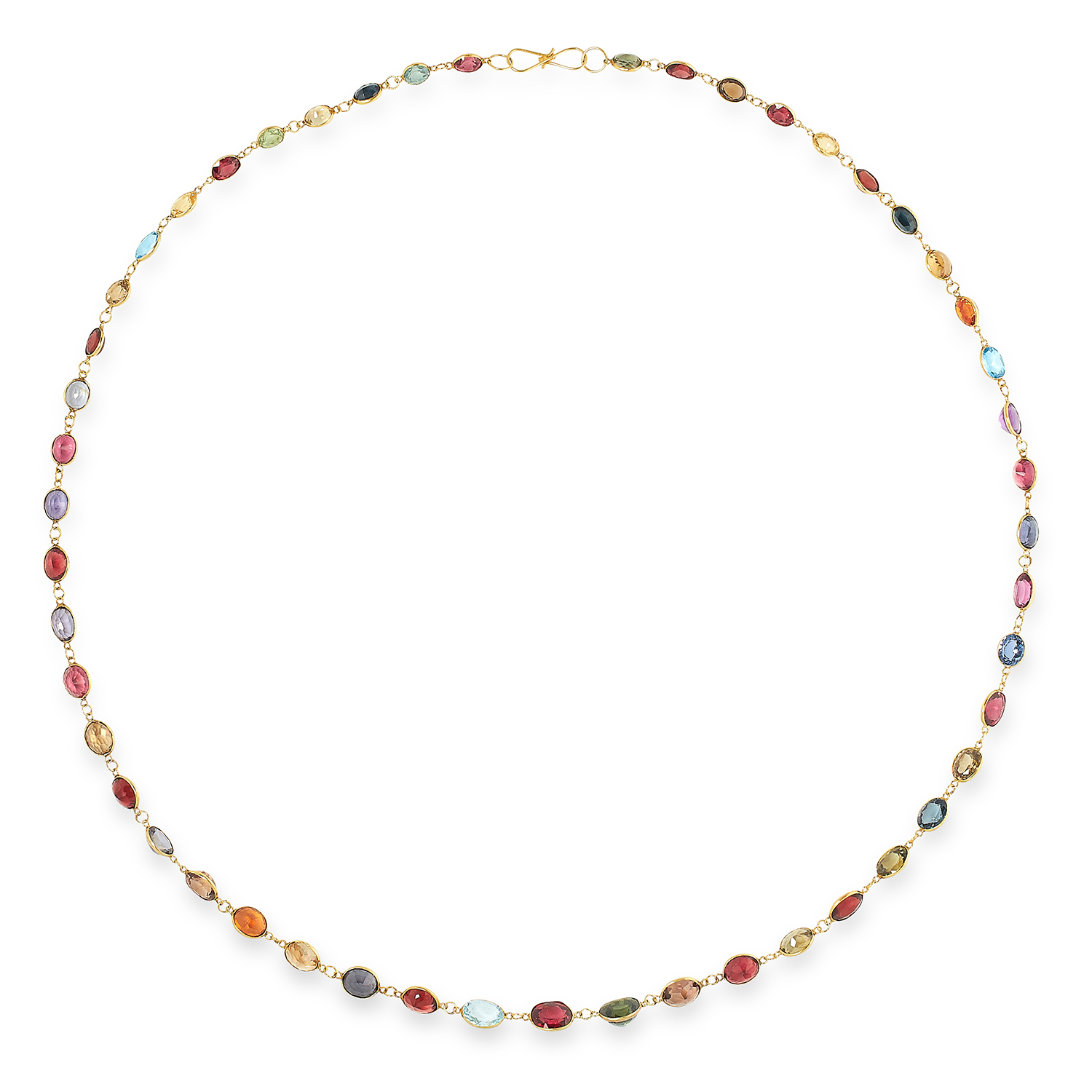 Los 38 - GEMSET NECKLACE comprising of a long fine chain set with oval cut topaz, garnets, prasiolite and