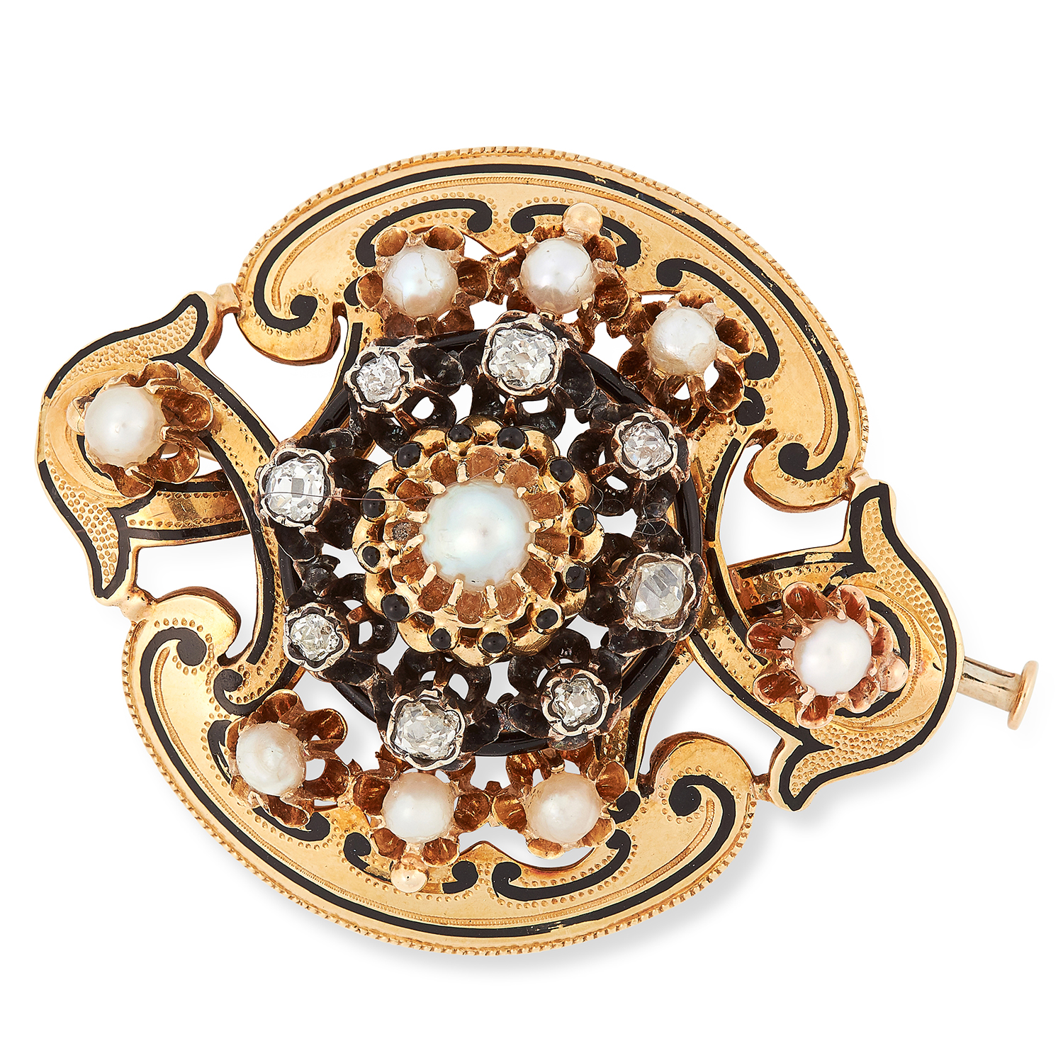 Los 63 - ANTIQUE VICTORIAN PEARL, DIAMOND AND ENAMEL BROOCH set with pearls, old cut diamonds and black