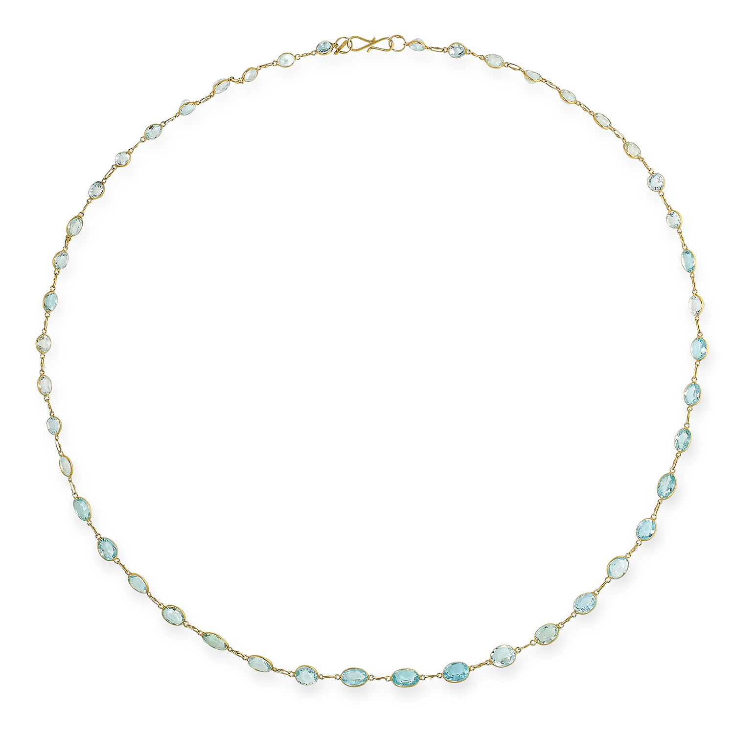 AQUAMARINE NECKLACE set on a fine link chain with oval cut aquamarines, 54cm, 6.7g.