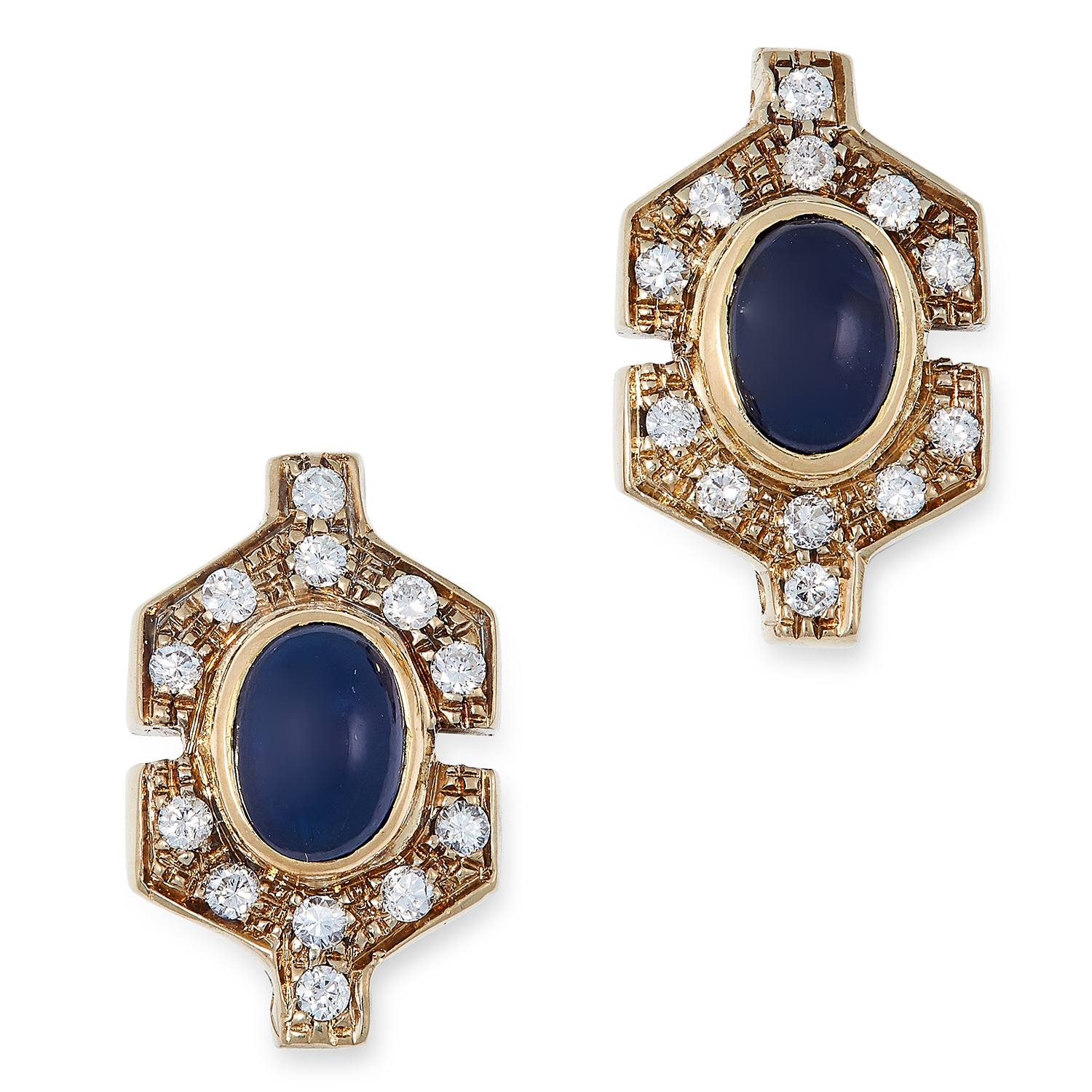 Los 5 - A PAIR OF SAPPHIRE AND DIAMOND EARRINGS each set with a cabochon sapphire in a border of round cut