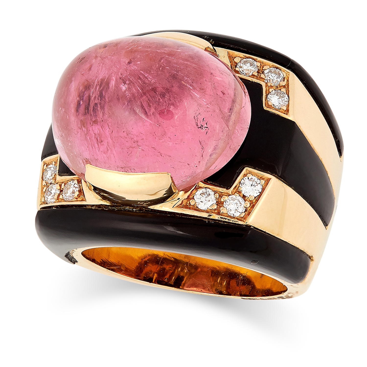 A RUBELLITE, ONYX AND DIAMOND RING in geometric design set with a cabochon rubellite, polished