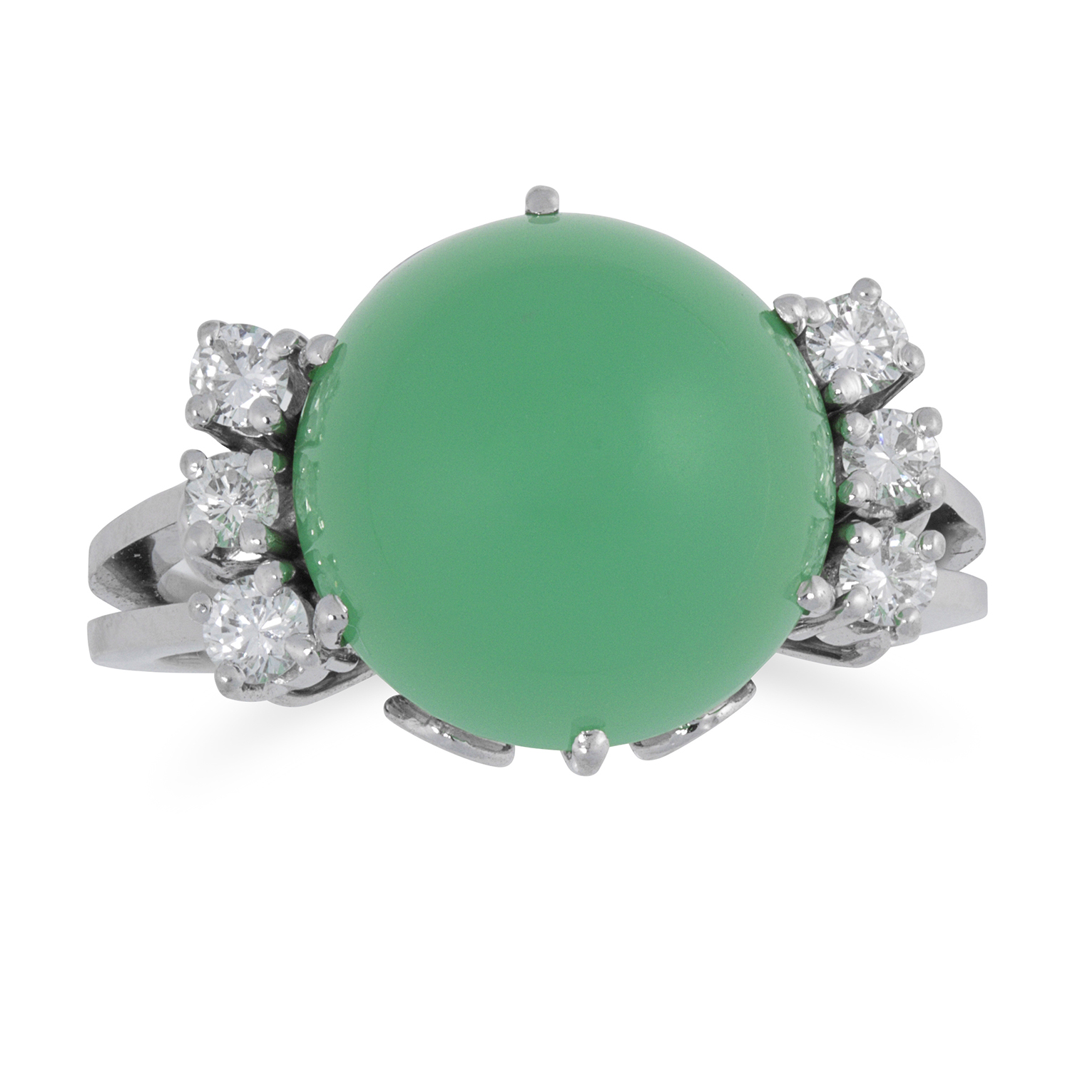 Los 47 - CHRYSOPRASE AND DIAMOND RING set with a cabochon chrysoprase between round cut diamonds, size L / 6,