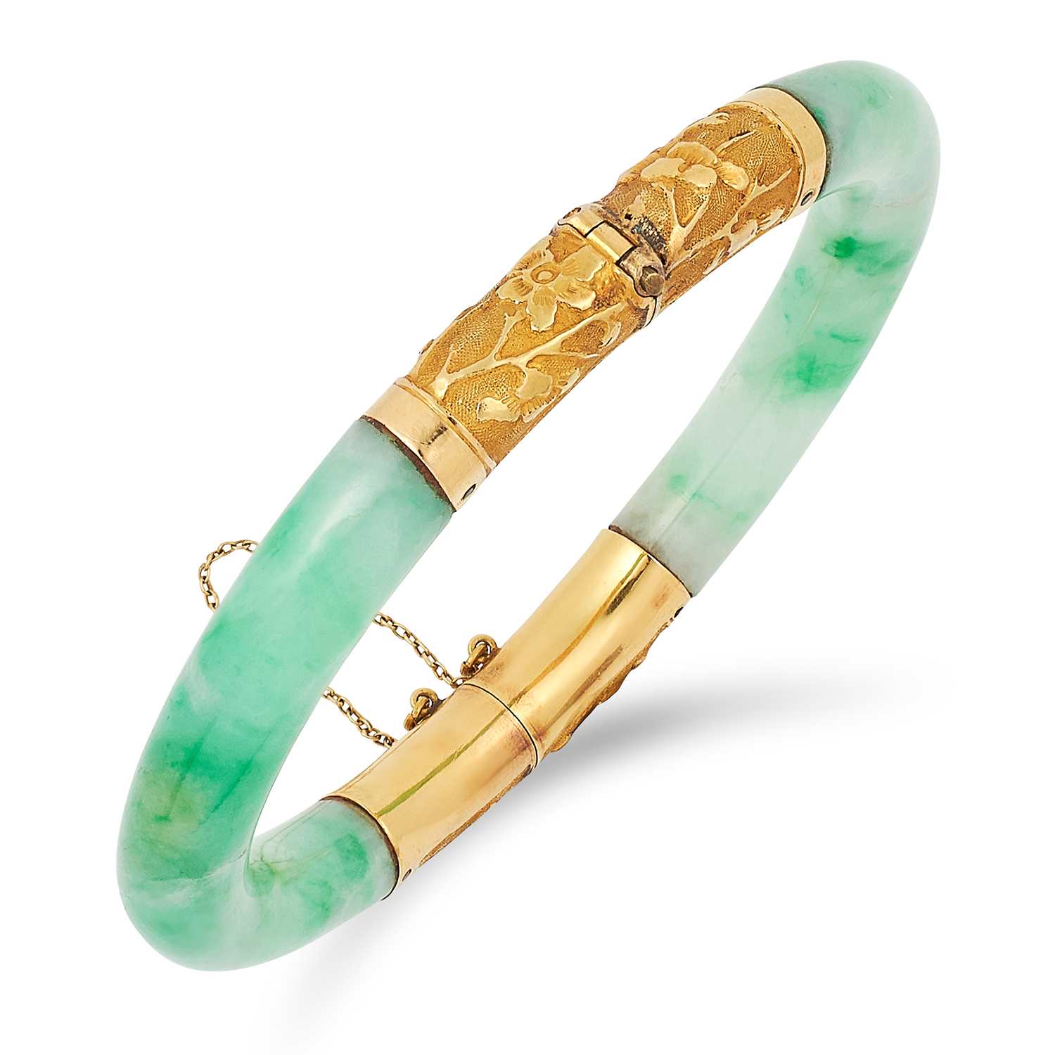 Los 68 - A CHINESE JADEITE JADE BANGLE comprising of two pieces of polished jade, 5.5cm inner diameter, 36.
