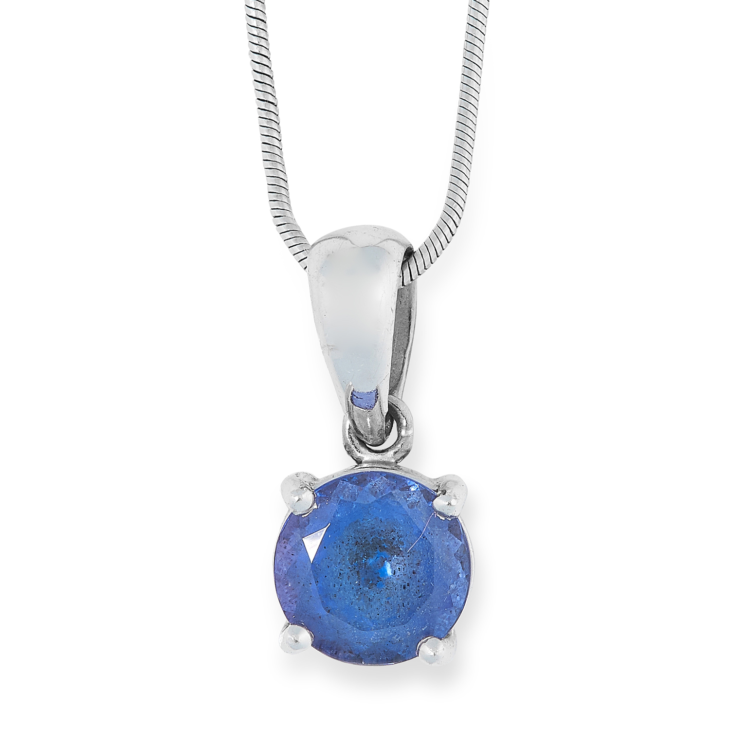 TANZANITE PENDANT set with a round cut tanzanite of approximately 1.32 carats, 43cm, 4.9g.