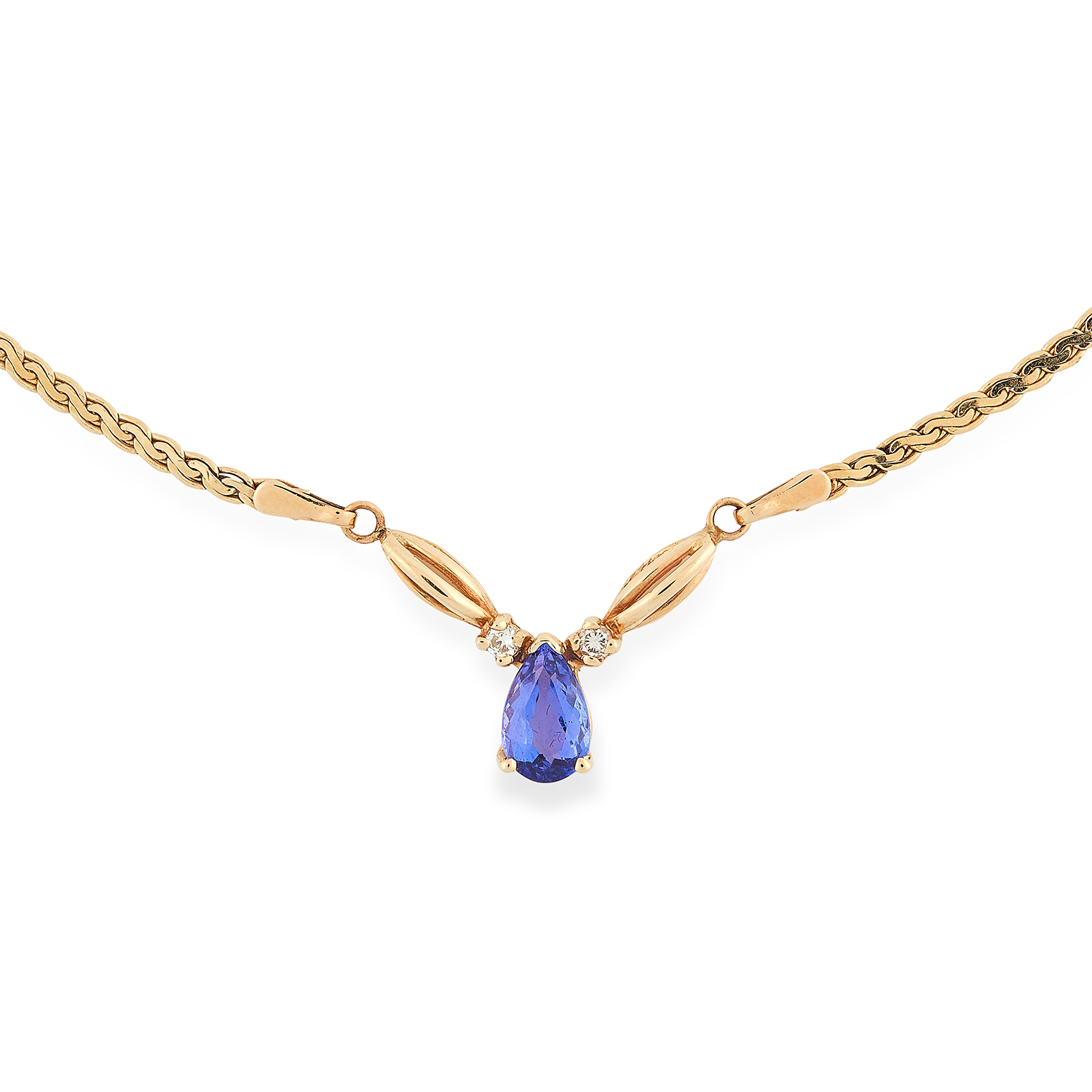 Los 69 - TANZANITE AND DIAMOND PENDANT NECKLACE set with a pear cut tanzanite between two round cut diamonds,