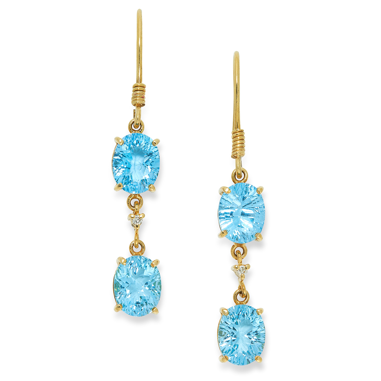 BLUE TOPAZ AND DIAMOND EARRINGS set with oval cut blue topaz and round cut diamonds, 5.2cm, 6.6g.