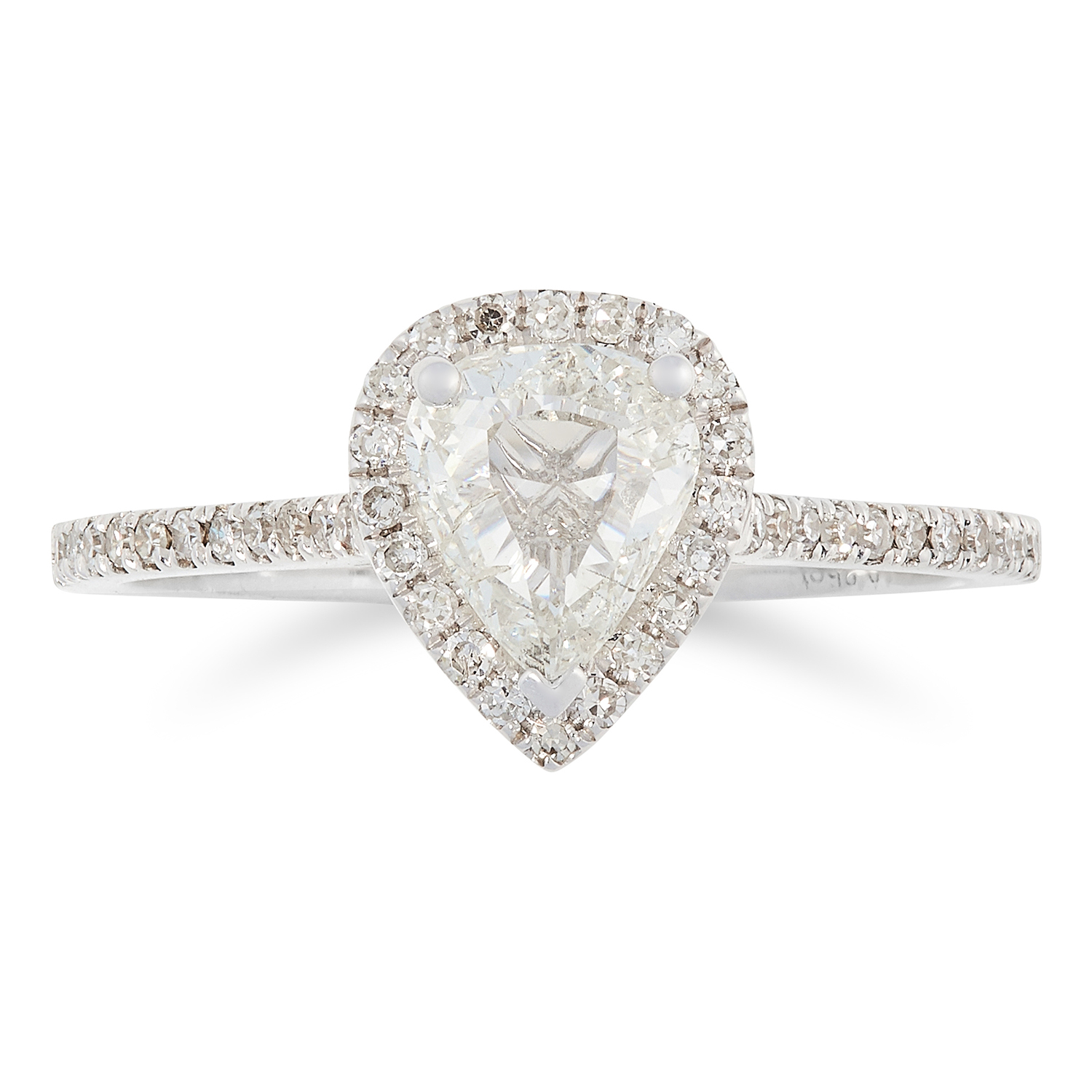 A DIAMOND SOLITAIRE RING, TRESOR PARIS set with a pear fancy cut diamond of 0.67 carats in a halo of