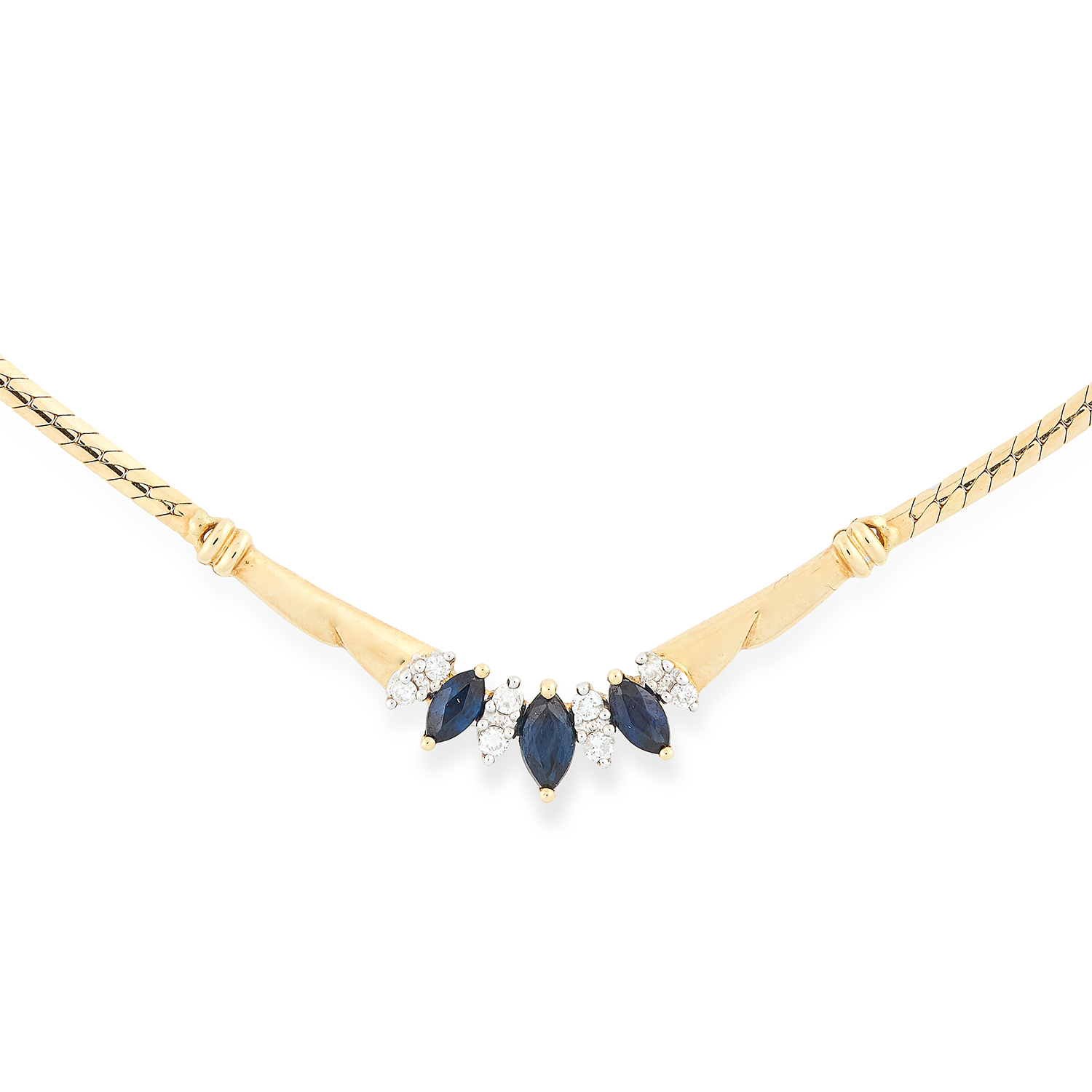 Los 72 - SAPPHIRE AND DIAMOND EARRING AND NECKLACE SUITE set with marquise cut sapphires and round cut