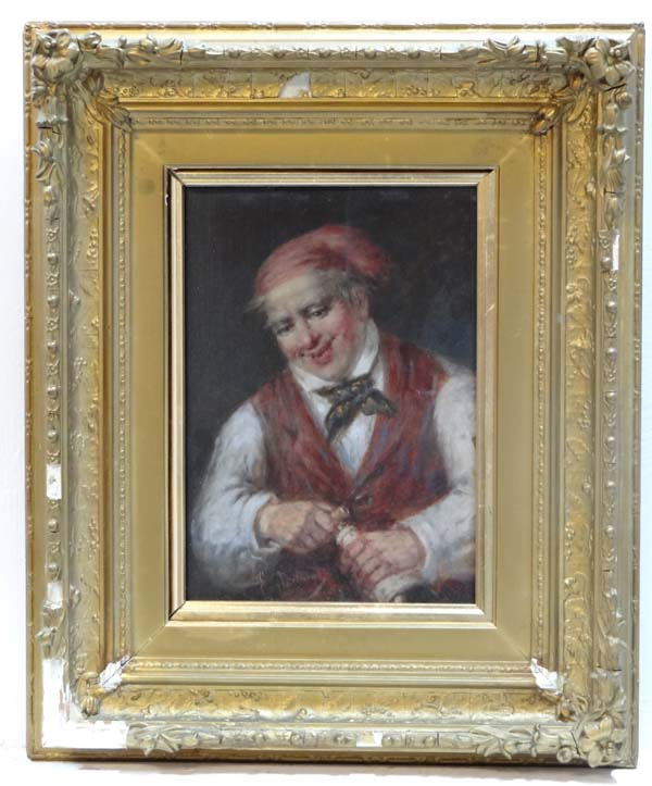 Lot 11 - Eug Delmertz? XIX , Oil on panel, A continental gentleman using a corkscrew on a bottle of wine,