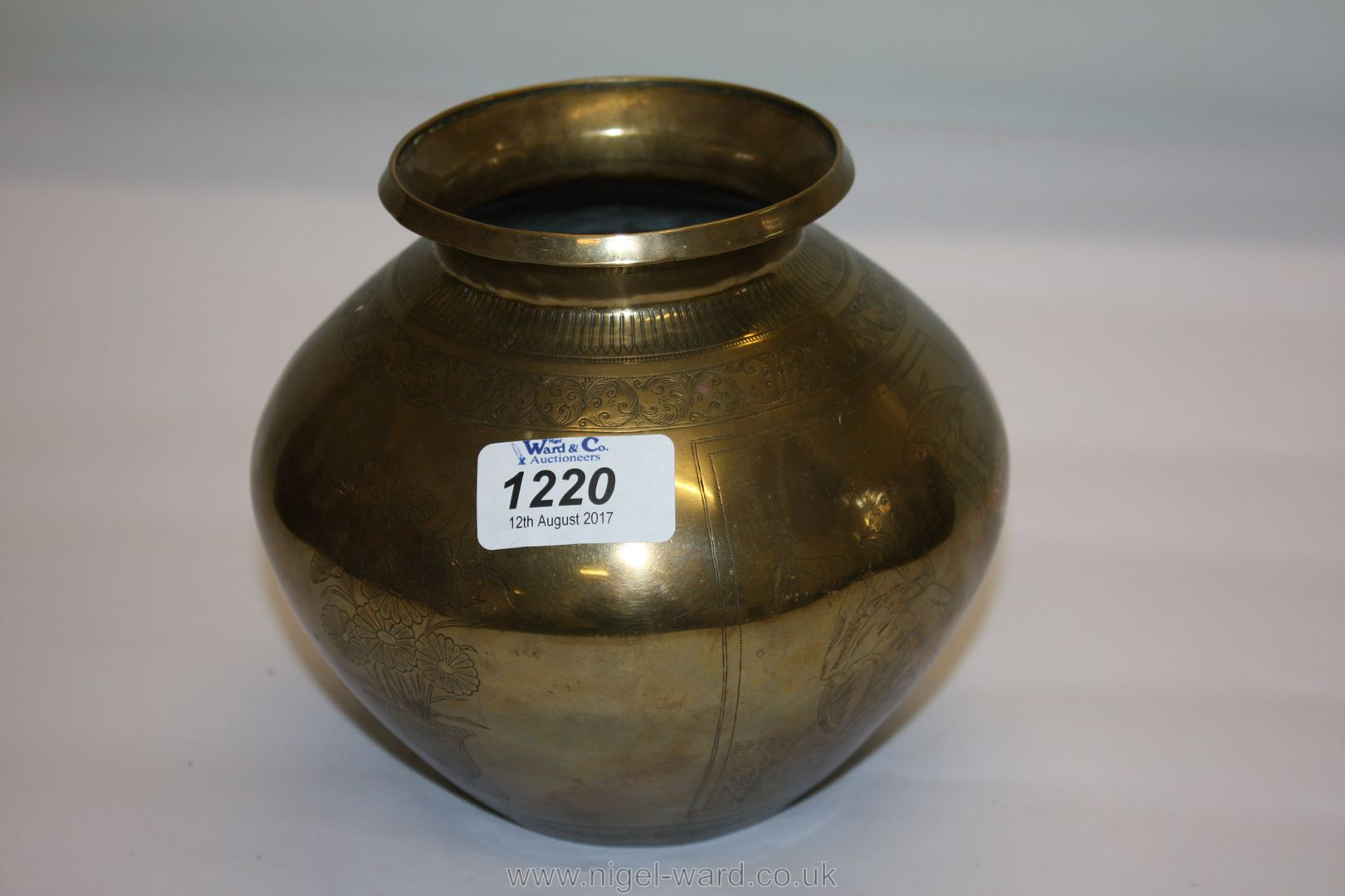 Lot 1220 - A rare and unusual Indian brass lota, 18th century,