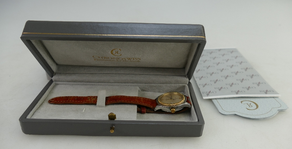 Lot 1482 - Ladies Chronoswiss Ladies wristwatch with brown leather strap,