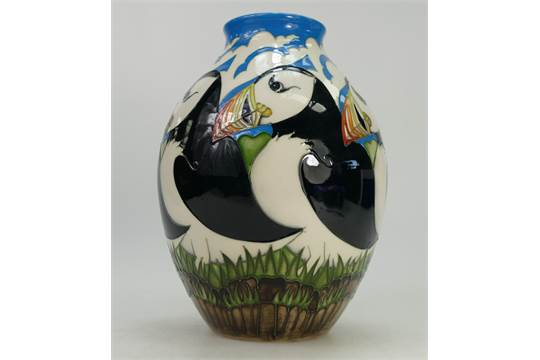 Moorcroft Vase Decorated In The Lindisfarne Puffin Design By Vicky