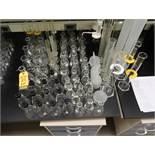LOT LAB GLASS, GRADUATED CYLINDERS 1000mL - 25mL, FLASKS, 1000mL PIPETTE DISPENSERS, ETC. LOT IS