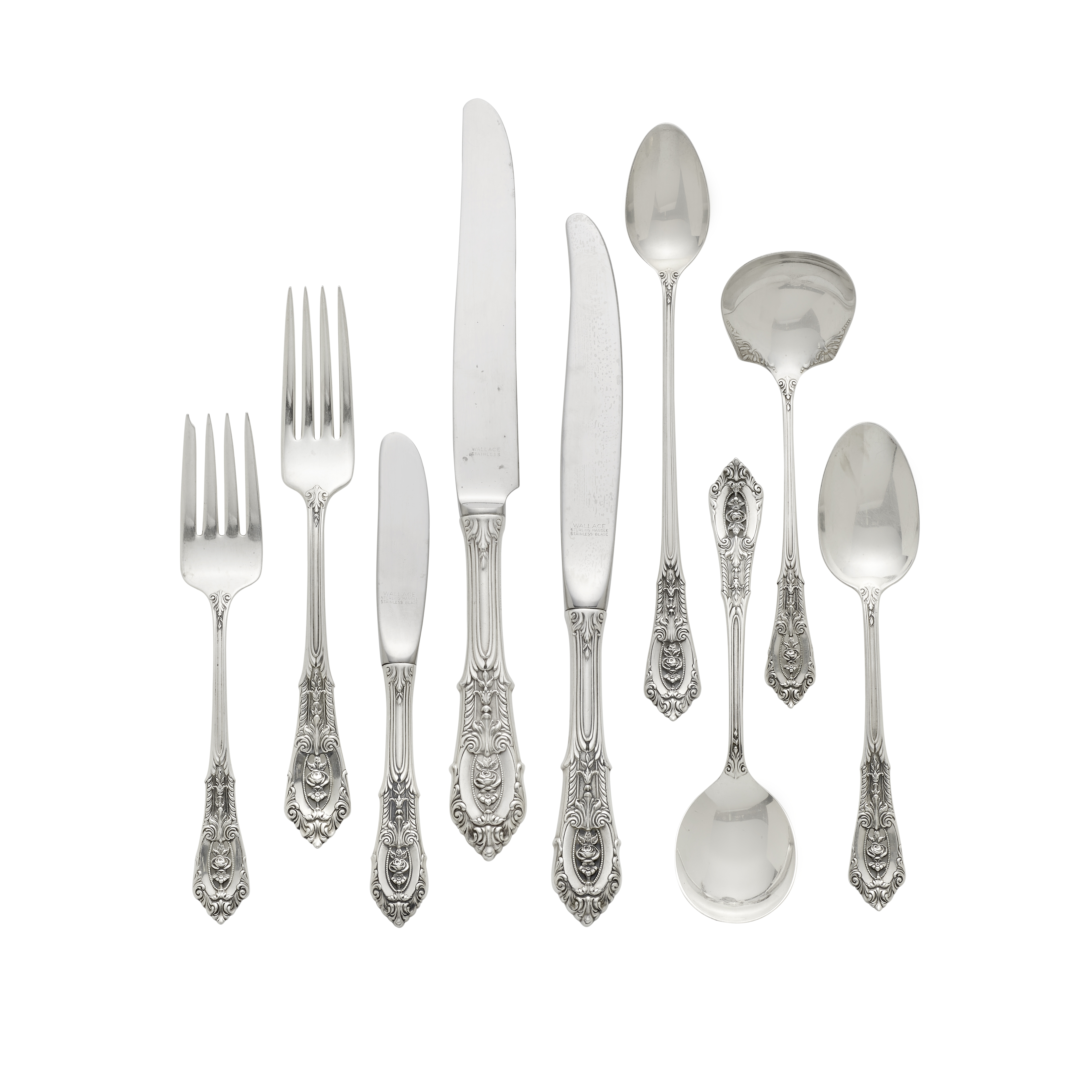 An American sterling silver partial flatware service by Wallace Silversmiths, Wallingford, CT, 20...