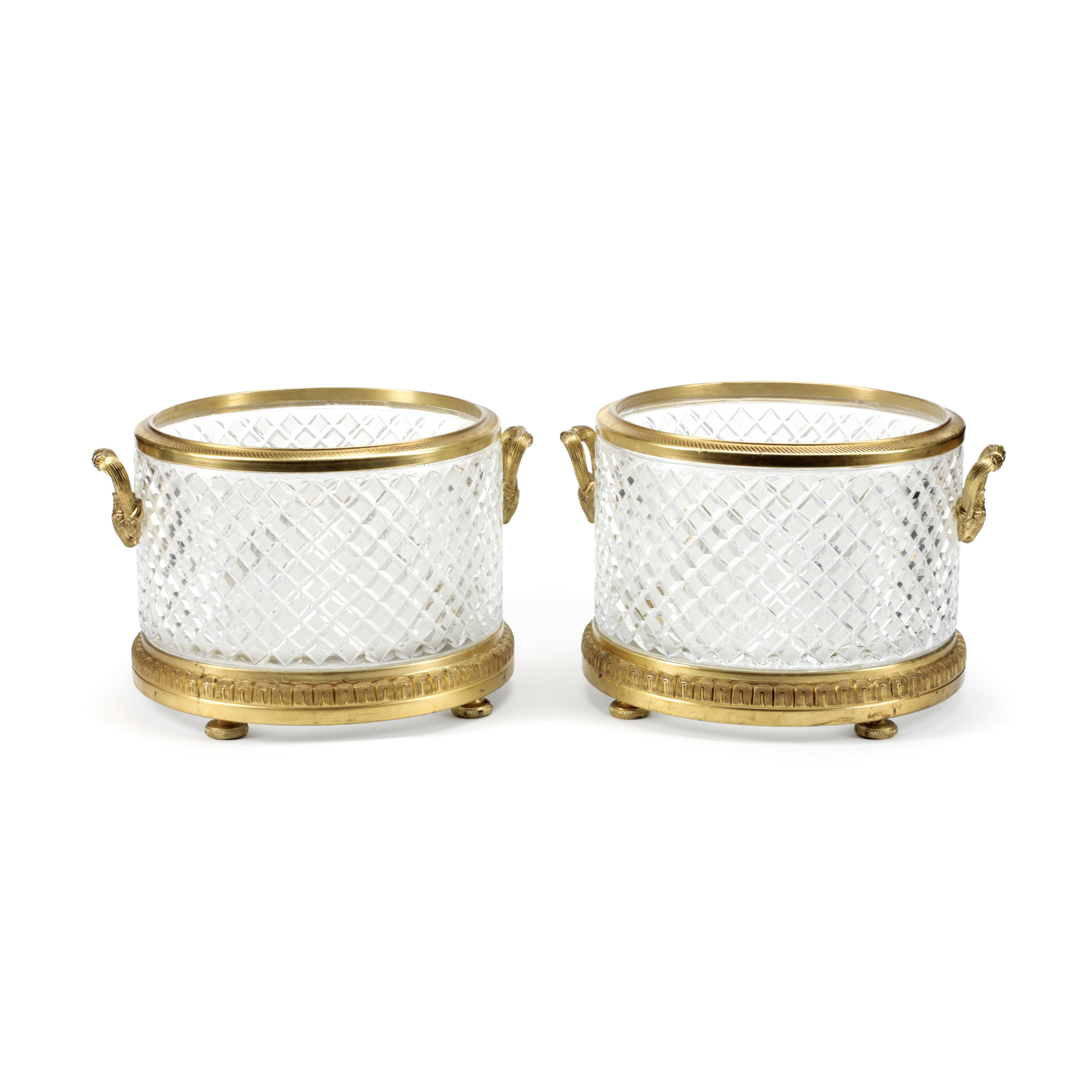 Lot 287 - A Pair of Gilt Bronze Mounted Cut Glass Cache Pots