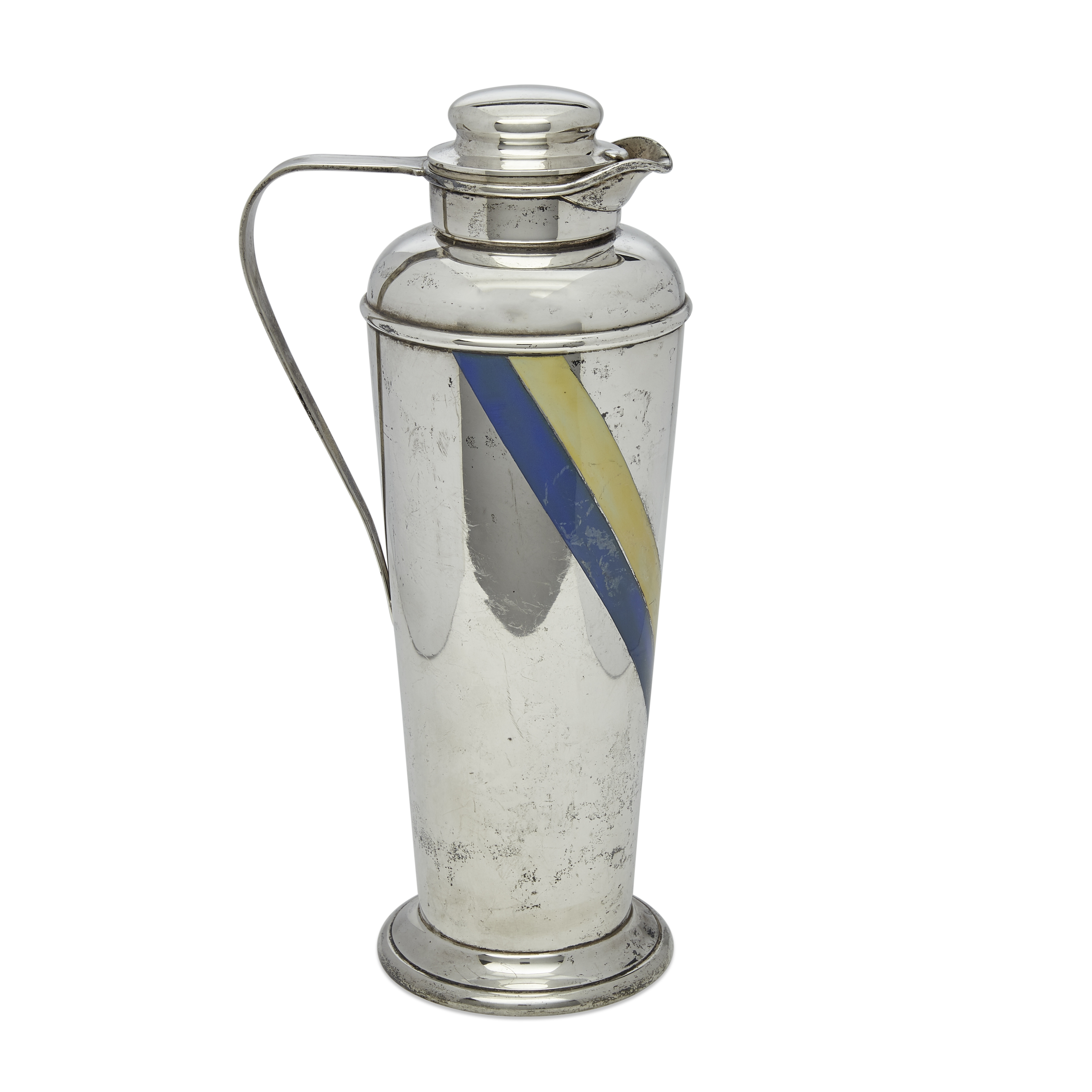 An American sterling silver and enamel cocktail shaker by Gorham Mfg. Co., Providence, RI, 1930