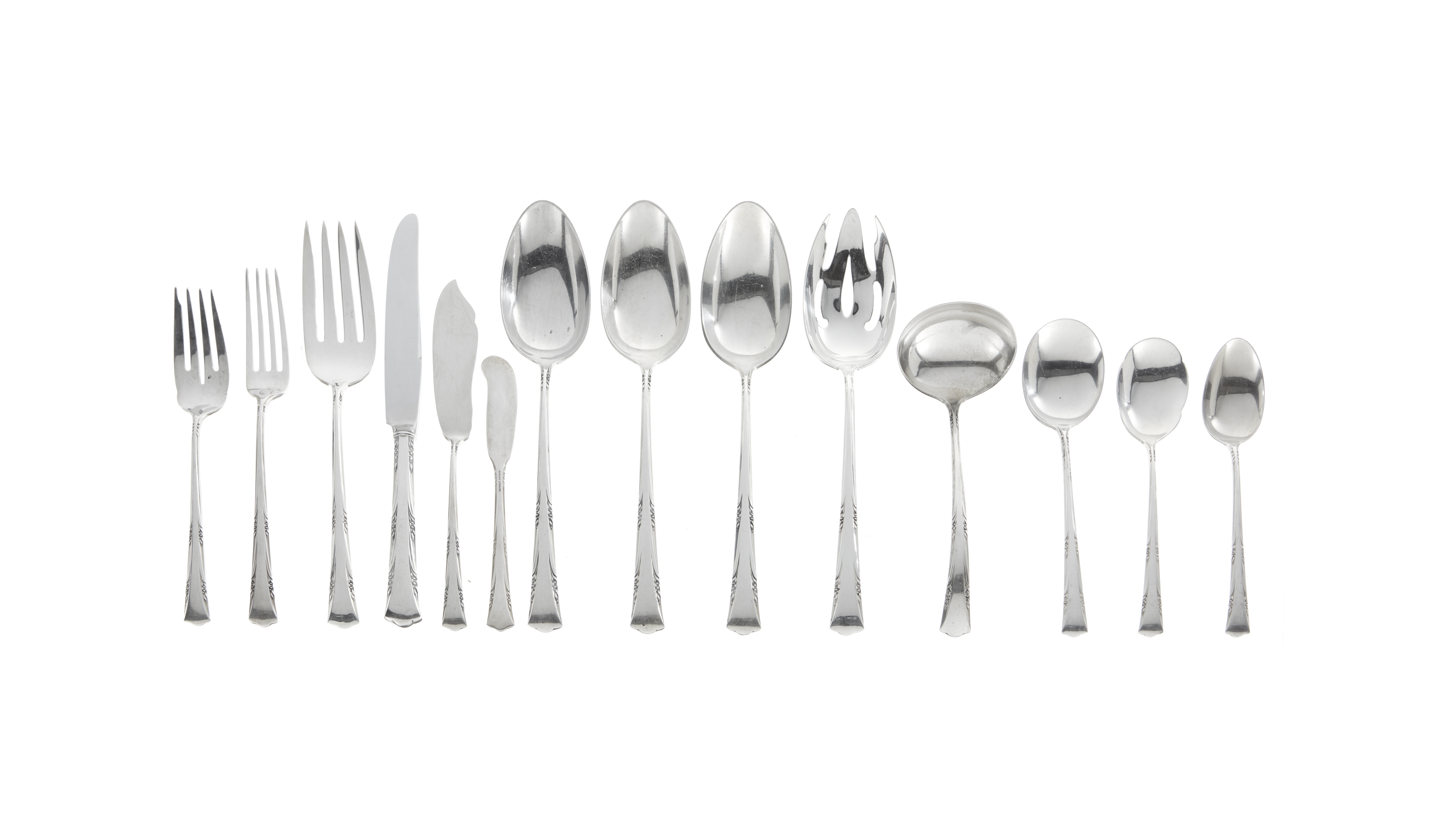 An American sterling silver partial flatware service by Gorham Mfg. Co., Providence, RI, 20th cen...