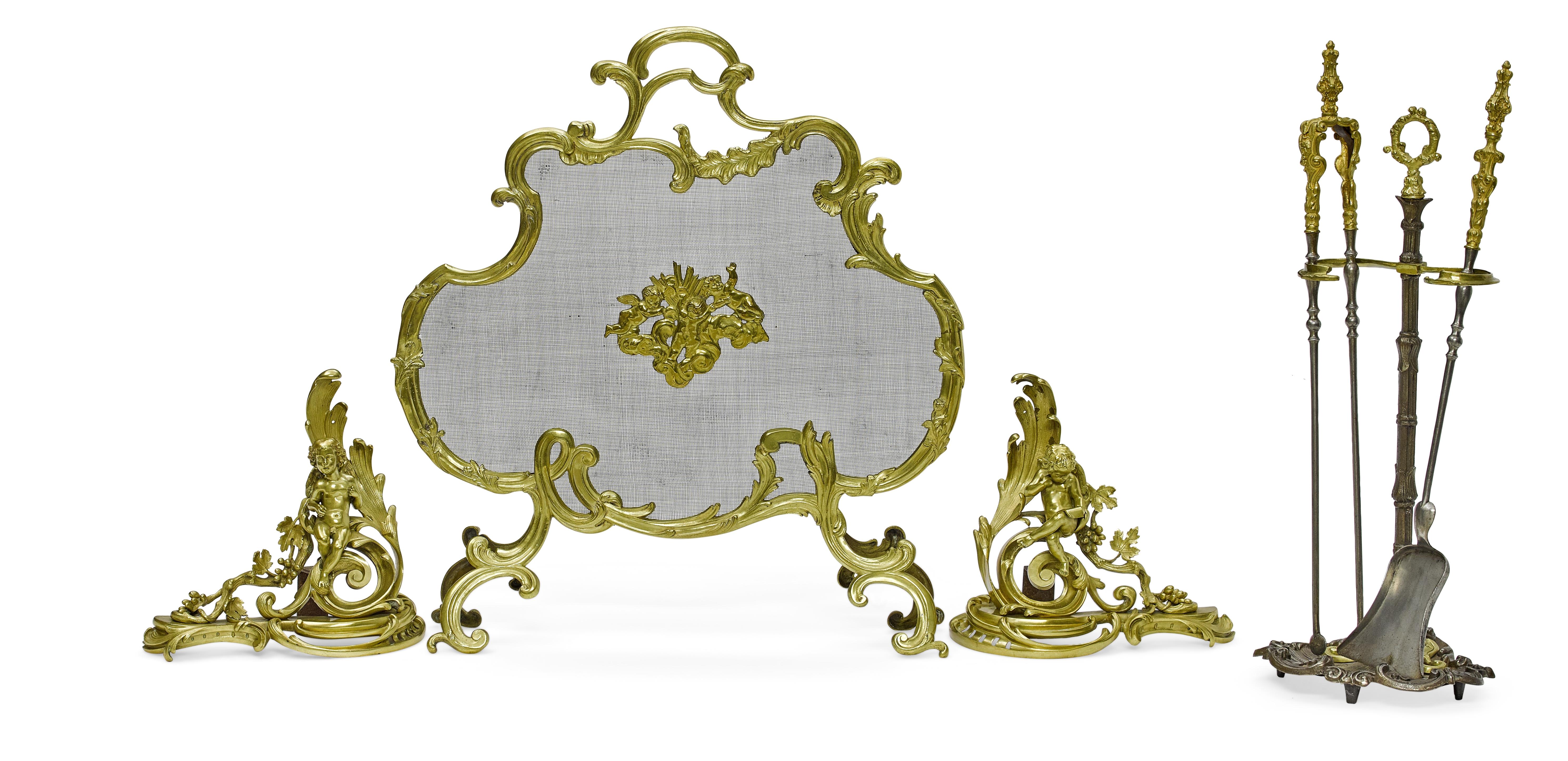 An assembled Louis XV style gilt bronze six piece fireplace set