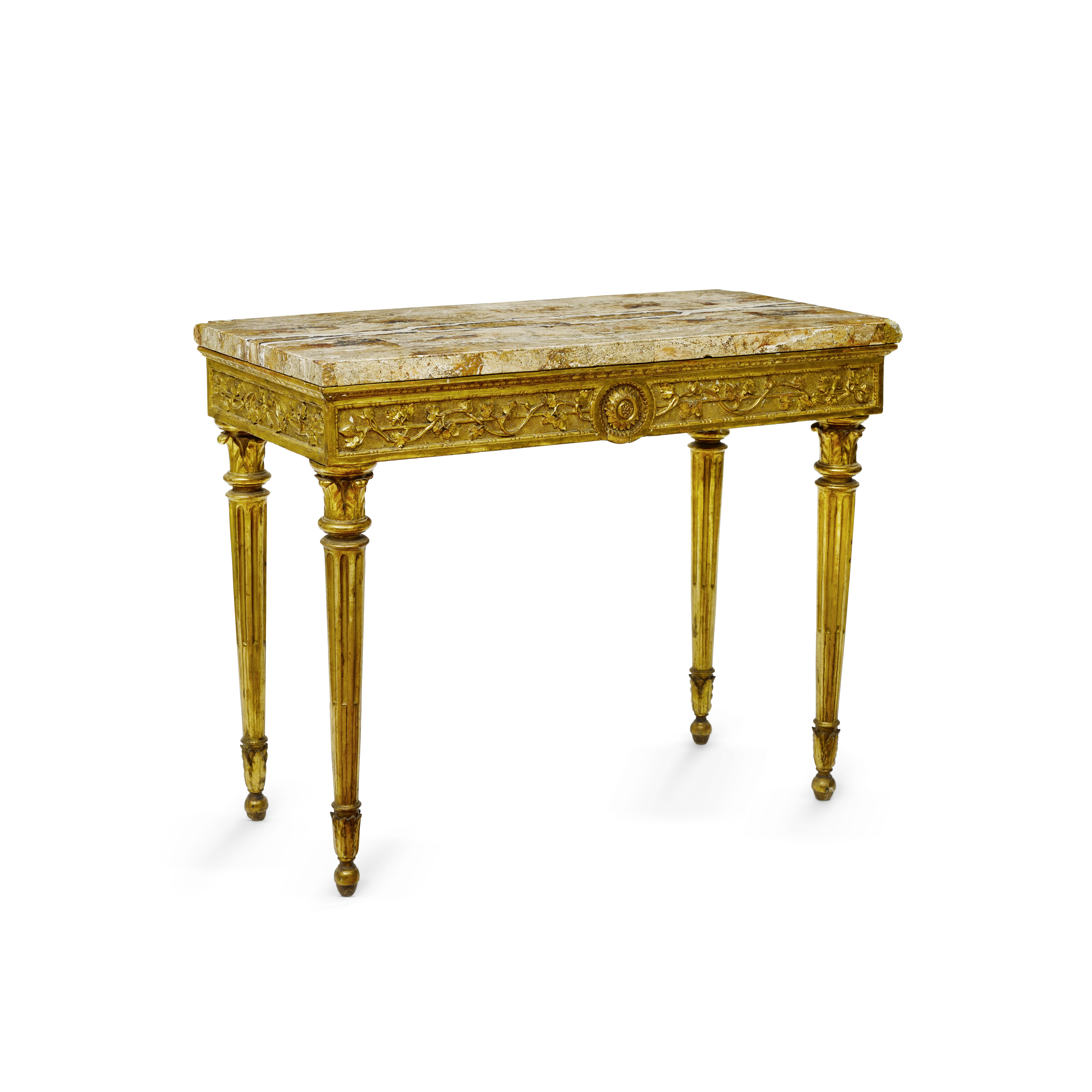 Lot 201 - An Italian Neoclassical Marble Top Giltwood Console Late 18th century