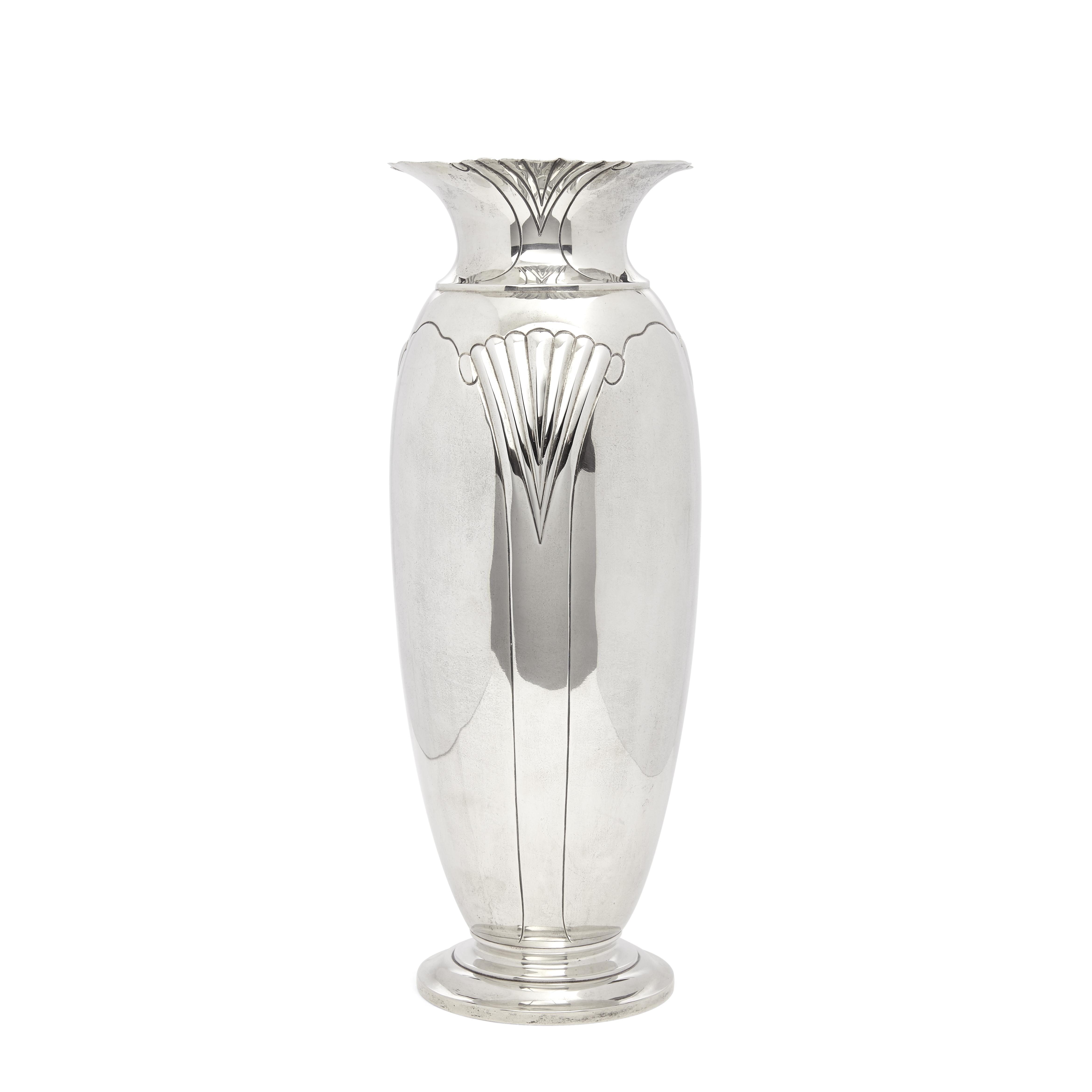 An American sterling silver art deco vase by Tuttle Silversmiths, Boston, MA, circa 1938