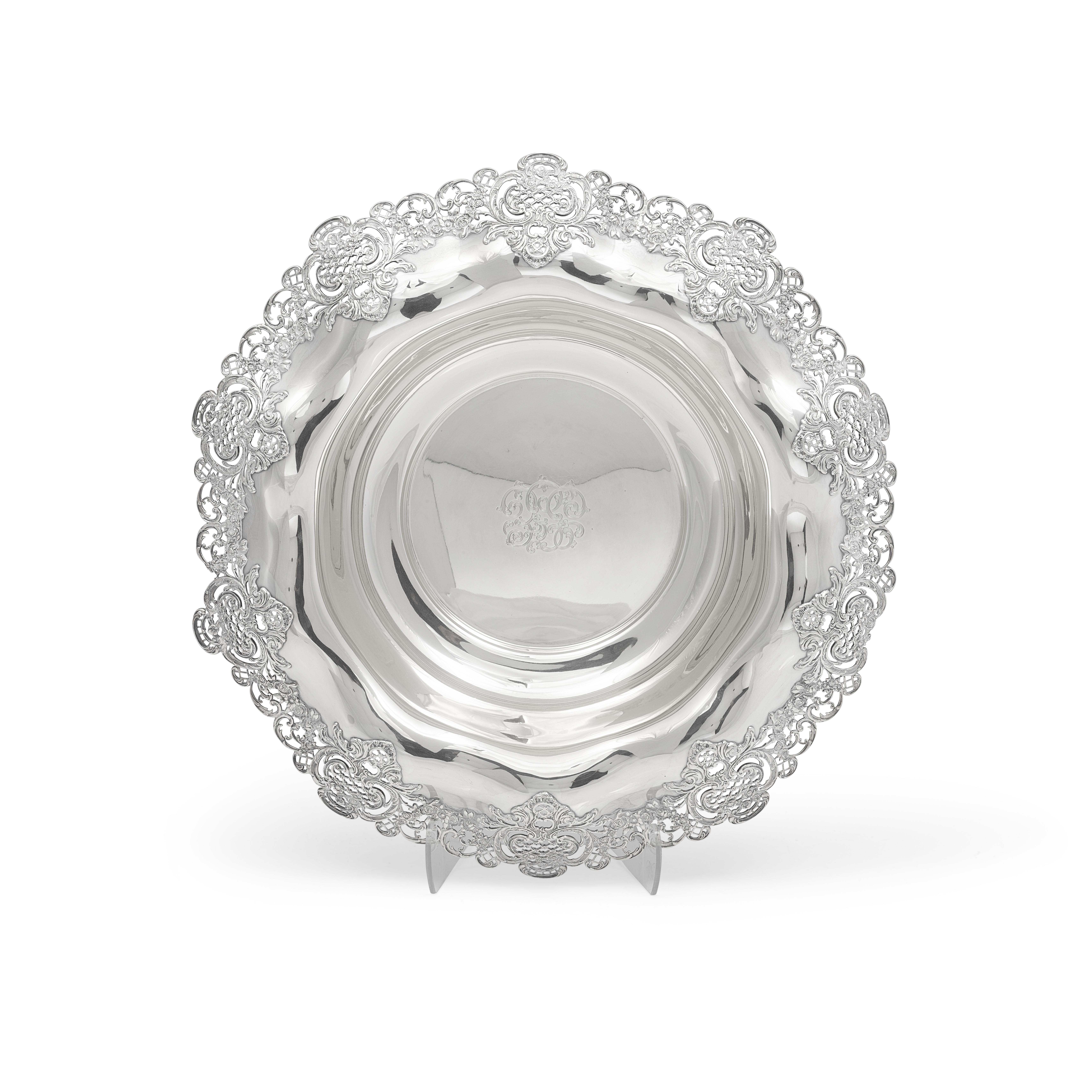 An impressive American sterling silver centerpiece bowl by Shreve & Co., San Francisco, CA, 20th ...