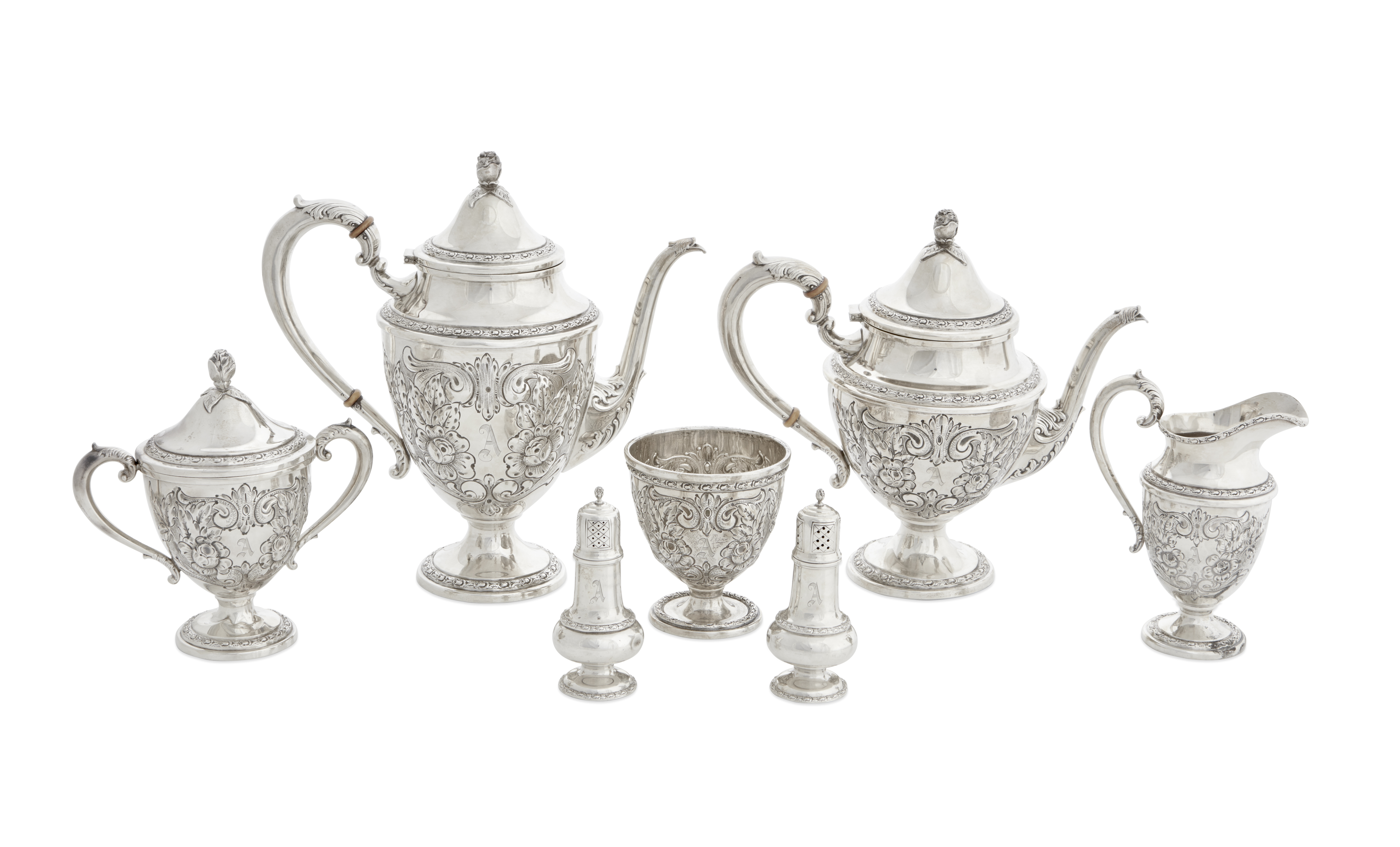 An American sterling silver five-piece tea and coffee service by Frank M. Whiting Co., Massachuse...