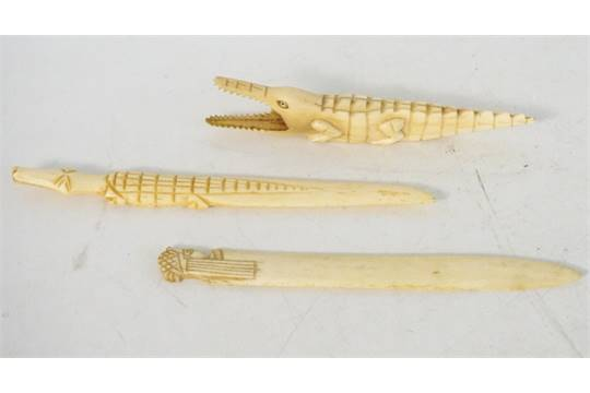 Carved Ivory Crocodile 14 5cm Long And Two Carved Bone Letter Openers One Modelled As A Crocodi