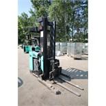 Mitsubishi Stand-Up Narrow Aisle Reach Forklift, M/N EDR15N, S/N 2DR3410714, 3,000 lb. Lifting