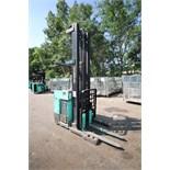 Mitsubishi Stand-Up Narrow Aisle Reach Forklift, M/N ESR36, S/N 1ESR360787, 2,750-4,000 lb.