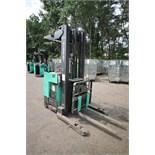 Mitsubishi Stand-Up Narrow Aisle Reach Forklift, M/N EDR36, S/N EDR360556, 3,000 lb. Lifting