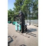 Mitsubishi Stand-Up Narrow Aisle Reach Forklift, M/N EDR15N, S/N 2DR3435717, 3,000 lb. Lifting