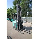 Mitsubishi Stand-Up Narrow Aisle Reach Forklift, M/N ESR36, S/N 1ESR360784, 2,750-4,000 lb.