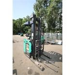 Mitsubishi Stand-Up Narrow Aisle Reach Forklift, M/N ESR20N-36V, S/N 5SR3714704, 4,000 lb. Lifting